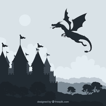Silhouette of castle and flying dragon