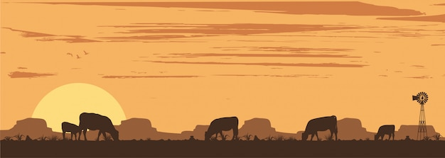 Silhouette of cattle in countryside, illustration