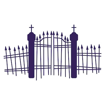 Silhouette of a cemetery gate.