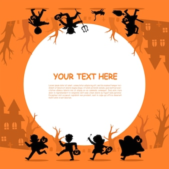 Silhouette of  children in halloween fancy dress to go trick or treating.template for advertising brochure. happy halloween.