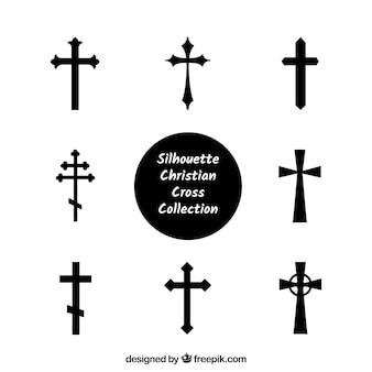 Силуэт христианской крест коллекции