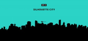 Silhouette city on blue background
