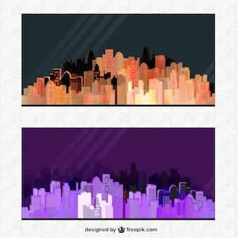 밤에 실루엣 도시 포스터