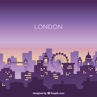 Silhouette city skyline in flat style
