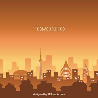 Silhouette city skyline in flat style