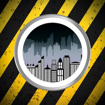 Silhouette city urban building badge with stripes background