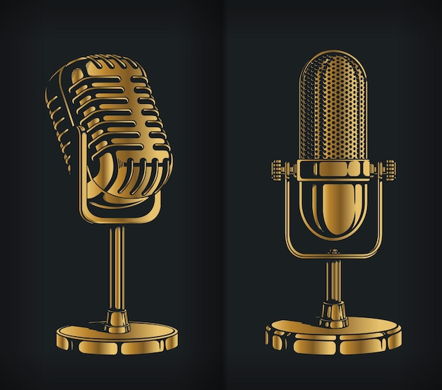 Силуэт классический золотой ретро микрофон логотип