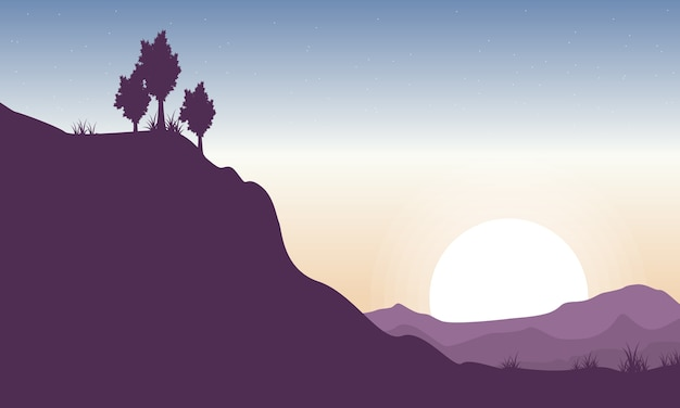 Silhouette of cliff beauty landscape
