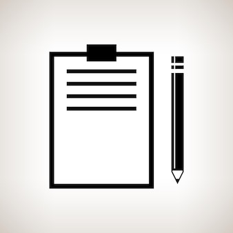 Silhouette clipboard with a pencil on a light background , black and white  vector illustration