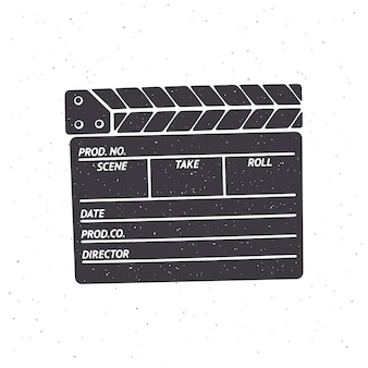 Silhouette of closed clapperboard vector illustration symbol of the movie industry