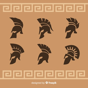 Silhouette collection of spartan helmets