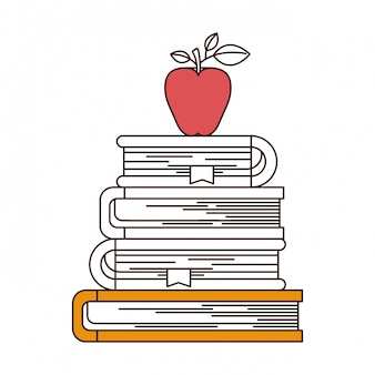 Silhouette color sections of stack of books with apple fruit