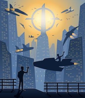 Silhouette conceptual design of the city in the future,vector illustration