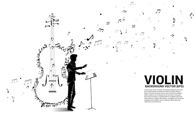 Silhouette of conductor hand with music melody note dancing flow shape violin icon .
