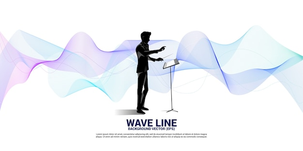 Silhouette of conductor standing with sound wave . concept background for orchestra concert and recreation.