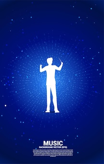 Silhouette of conductor with dot radiant effect background. concept background for classic music concert and recreation.