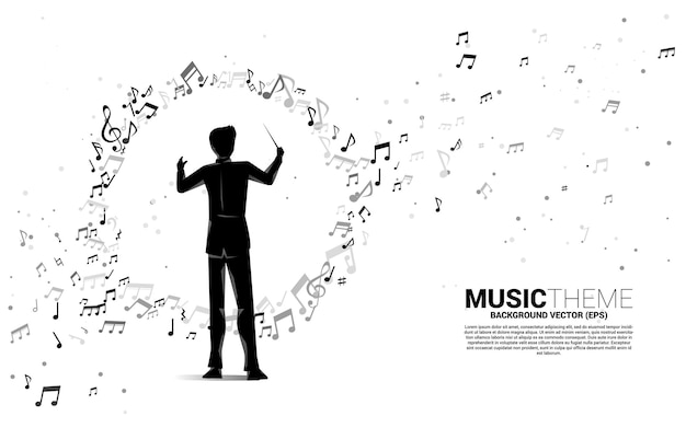 Silhouette of conductor with music melody note dancing flow.