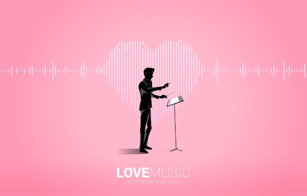 Silhouette of conductor with sound wave heart icon music equalizer background. love song music visual signal