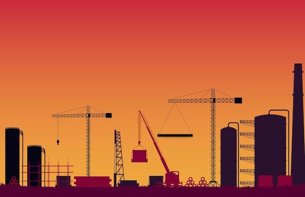 オレンジ色のグラデーションのシルエット建設現場