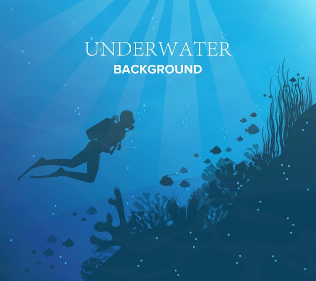 Silhouette of coral reef with fish and scuba diver on a blue sea background. underwater marine wildlife. nature  illustration.