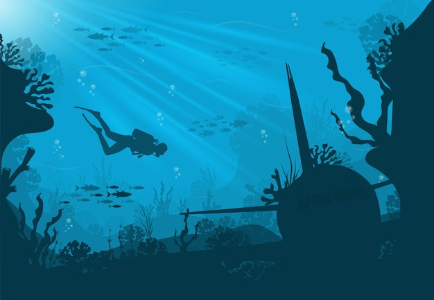 Silhouette of coral reef with fish and scuba diver on a blue underwater background