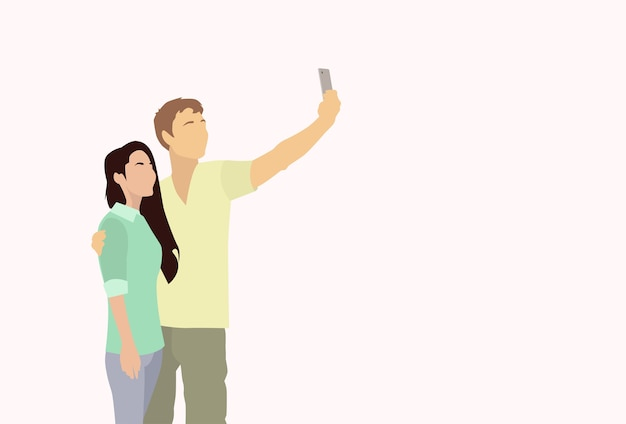 Silhouette couple colorful man woman taking selfie photo