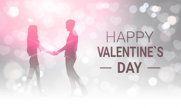 Silhouette couple holding hands over glittering happy valentines day greeting card design
