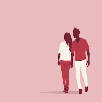 Silhouette couple lovers holding hands with copy space