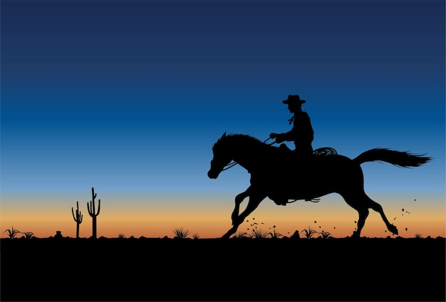 Silhouette of a cowboy riding horse at sunset