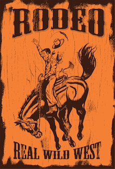 Silhouette of a cowboy riding a wild horse on a wooden board