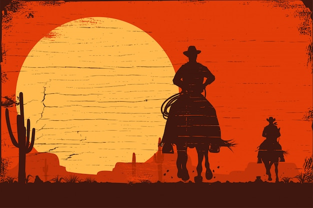 Silhouette of cowboys riding horses at sunset on a wooden sign, vector