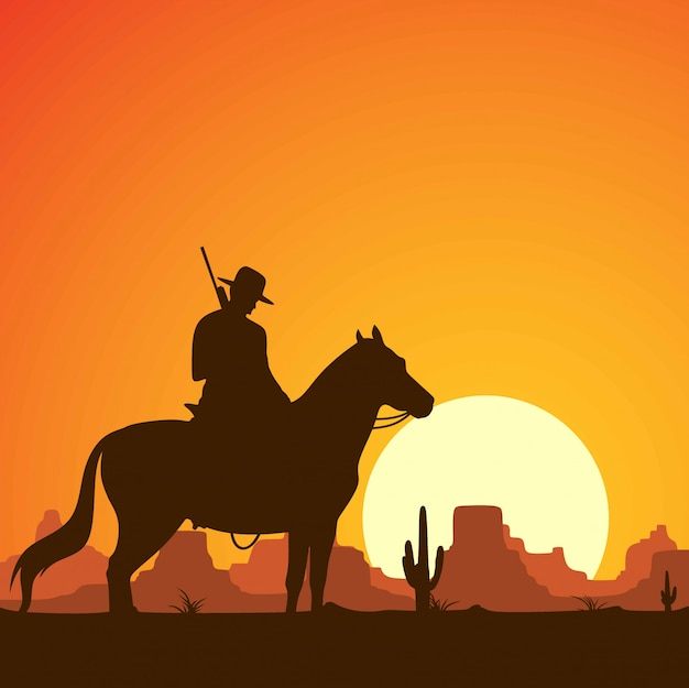 Silhouette of cowboys riding horses with guns.