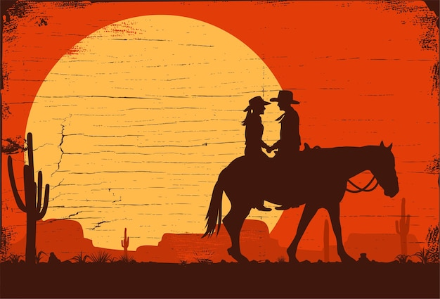 Silhouette of cowboys riding horses