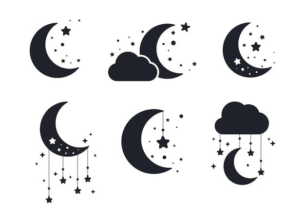 Silhouette of the crescent moon and stars in the night sky isolated on background