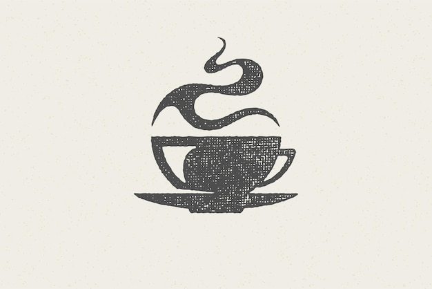 Silhouette cup hot aromatic drink with whiff of steam as coffee house logo