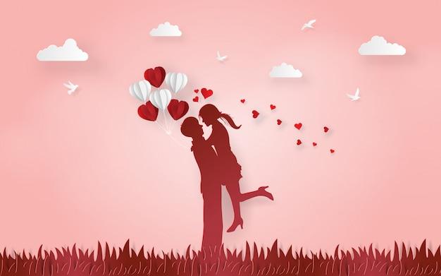 かわいいカップルのシルエットは、お互いに愛を示す