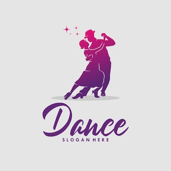 Silhouette of dancing couple on a white background