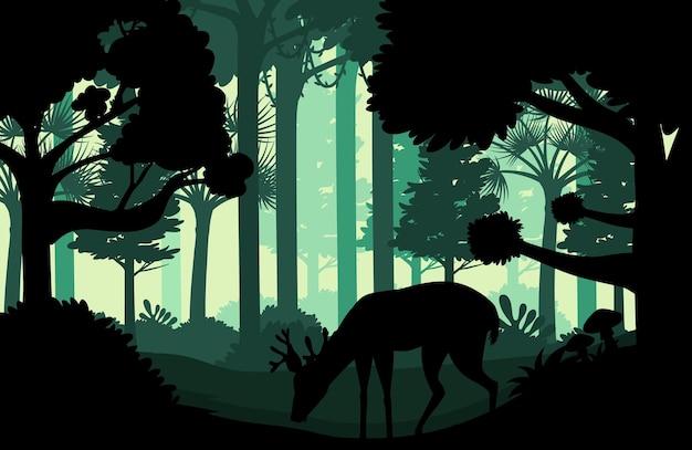 Силуэт темный лес пейзажный фон