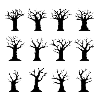 Silhouette dead tree without leaves collection isolated on white.