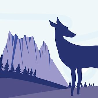 실루엣 사슴 풍경