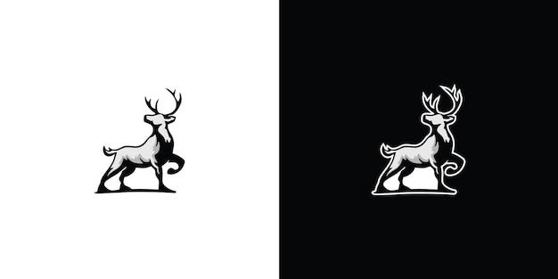 실루엣 사슴 로고 프리미엄 벡터