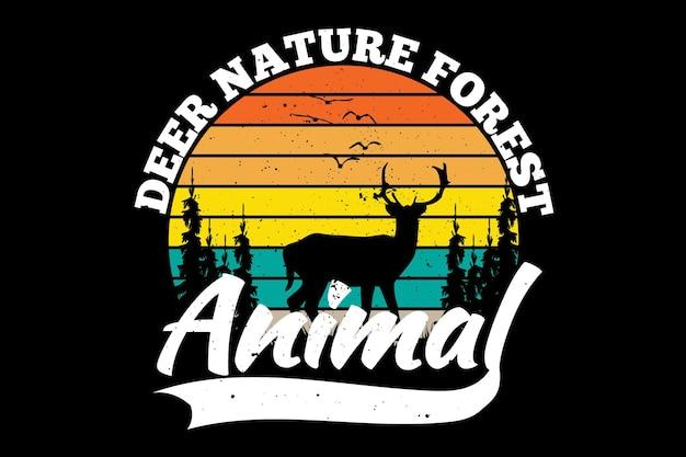 Силуэт олень сосна природа лес животное винтаж ретро стиль