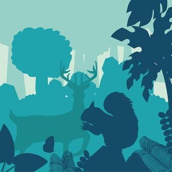 シルエット鹿リス森の茂みの木