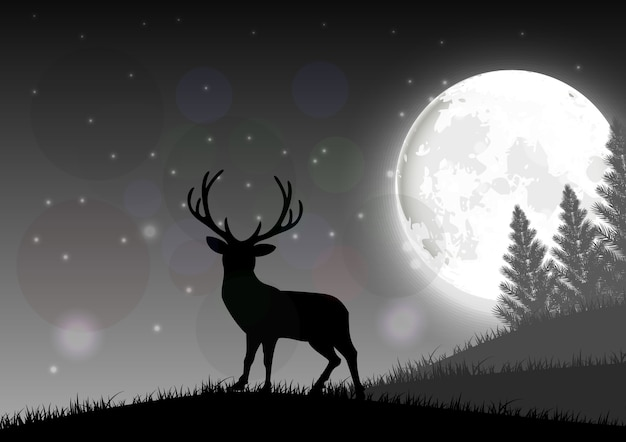 Silhouette of a deer standing on a hill at night with moon