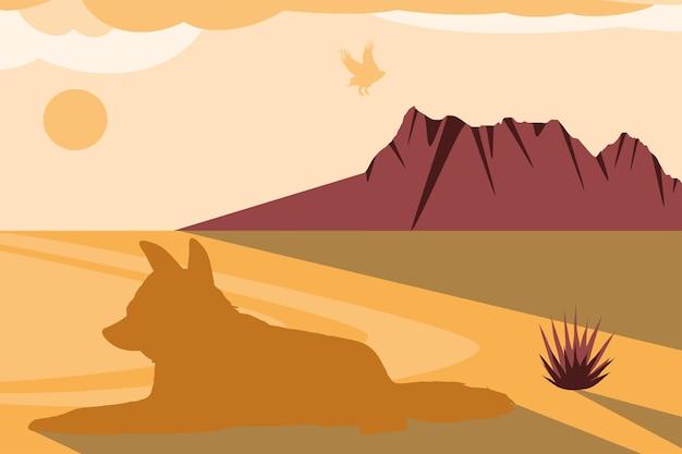 실루엣 사막 독수리