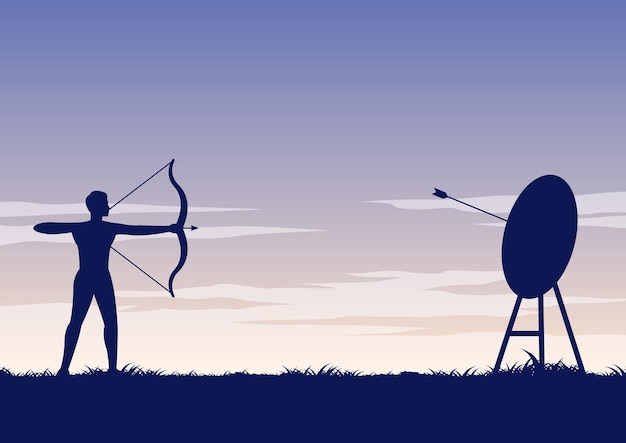 Silhouette design of ancher shooting arrow