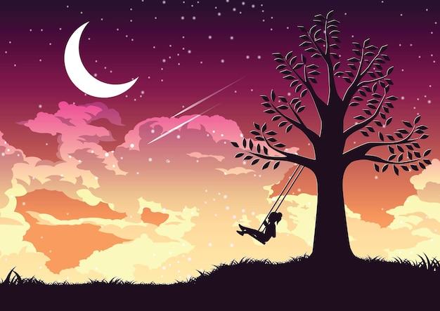 나무 그림 아래에서 혼자 스윙하는 소녀의 실루엣 디자인