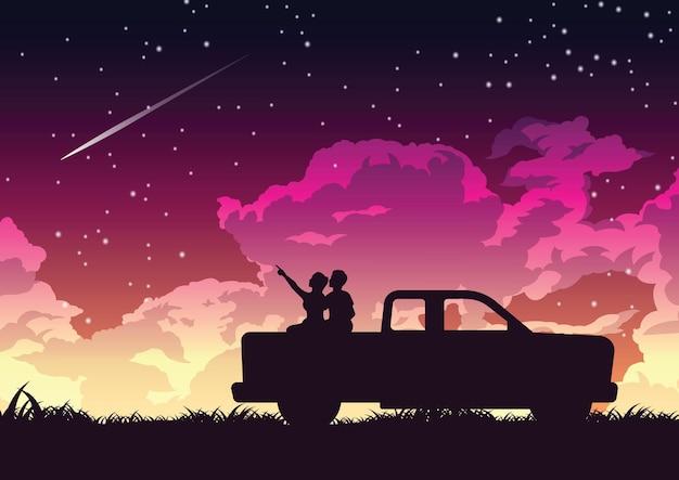 星のイラストを見るトラックの後ろのカップルのシルエットデザイン