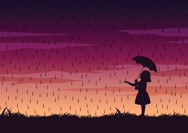 비 그림 중간에 소녀와 우산의 실루엣 디자인