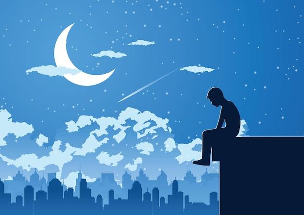 建物のイラストの上部にある静かな夜に孤独な若者のシルエットデザイン